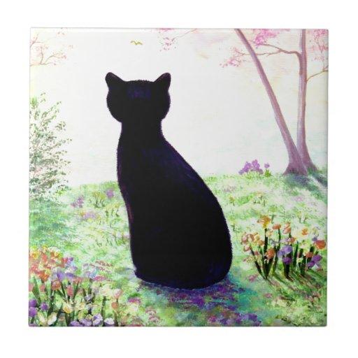 Flower Garden Floral Black Cat Creationarts Ceramic Tiles