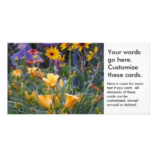Flower garden fun colorful pretty flowers photo customized photo card