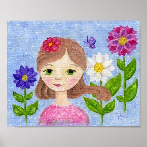 Flower Garden Girl art print