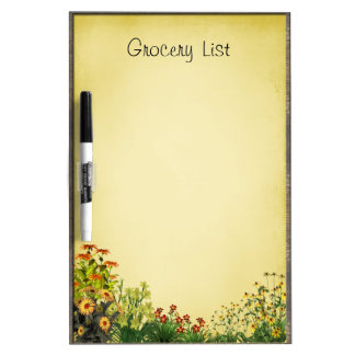 Flower Garden Grocery List Dry Erase Whiteboard