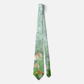 Flower Garden in the Rain Green Tie
