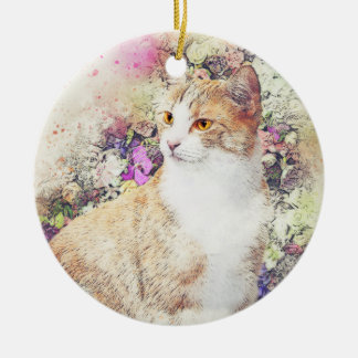 Flower Garden Kitty | Abstract | Watercolor Christmas Ornament