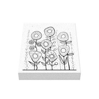 Flower Garden Line Art Design Canvas Print