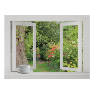 Flower Garden - Open Window with Pretty View Poster