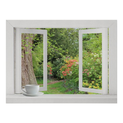 Flower Garden - Open Window with Pretty View Posters