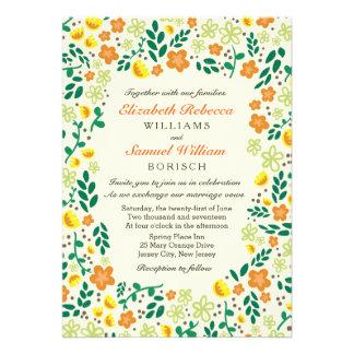 Flower Garden Orange Green Wedding Invitation