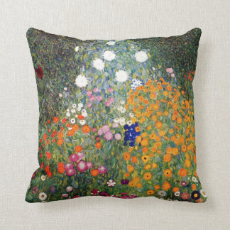 Flower garden painting Gustav Klimt Throw Cushions