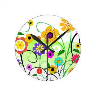 Flower Garden Round Clock