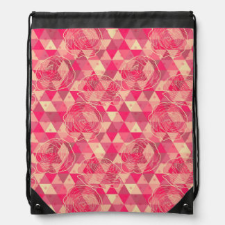 Flower geometrical pattern drawstring bag