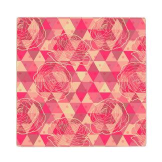 Flower geometrical pattern maple wood coaster