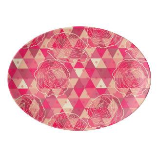 Flower geometrical pattern porcelain serving platter