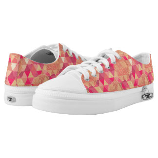 Flower geometrical pattern printed shoes