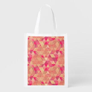 Flower geometrical pattern reusable grocery bag
