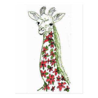 Flower Giraffe Art Postcard