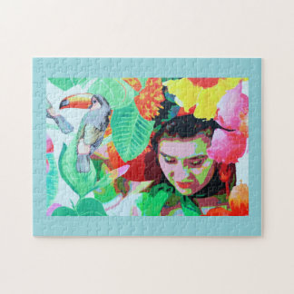 Flower girl and toucan jigsaw puzzle