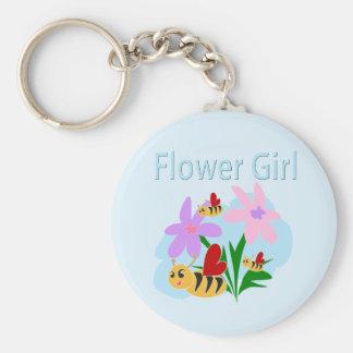Flower Girl Basic Round Button Key Ring