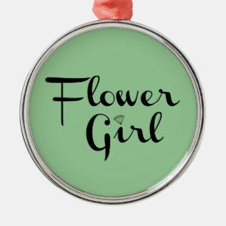 Flower Girl Black on Green Ornament