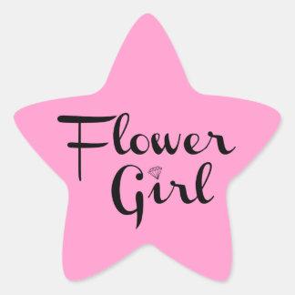 Flower Girl Black on Pink Star Stickers
