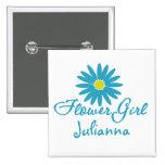 Flower Girl/ Blue Daisy Buttons