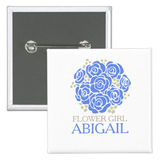 Flower girl blue posy named wedding pin button