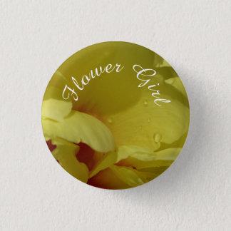 Flower Girl button, yellow peony 3 Cm Round Badge