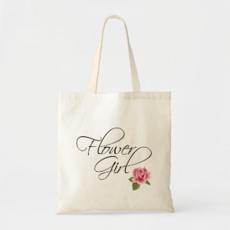 Flower Girl Calligraphy and Rose Tote Bag