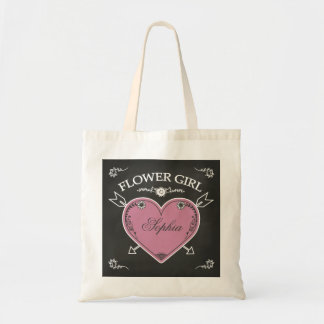 Flower Girl Chalkboard Heart and Arrows Budget Tote Bag