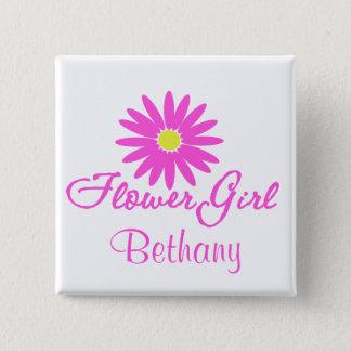 Flower Girl Daisy/ Pink 15 Cm Square Badge