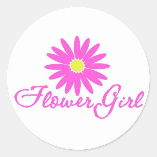 Flower Girl Daisy   Pink Round Sticker