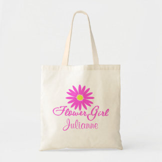 Flower Girl Daisy Pink Tote Bags