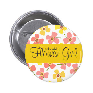 FLOWER GIRL Daisy Pop Pink Wedding Name Tag Button