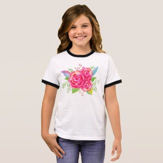 Flower Girl Design Ringer T-Shirt