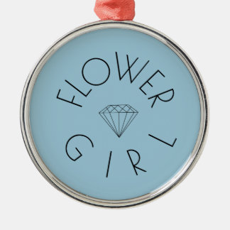 Flower Girl Diamond Black on Blue Silver-Colored Round Decoration