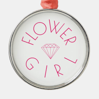 Flower Girl Diamond Pink Silver-Colored Round Decoration