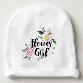 Flower Girl Floral Watercolor Wedding Baby Beanie
