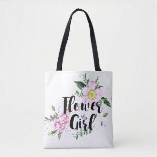 Flower Girl Floral Watercolor Wedding Tote Bag