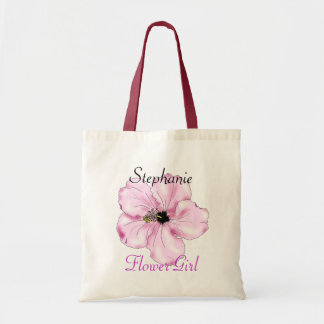 Flower Girl Gift Pink Hibiscus Art Tote Bag Budget Tote Bag
