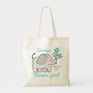 Flower Girl Gingham Elephant with Bouquet Blue Bags