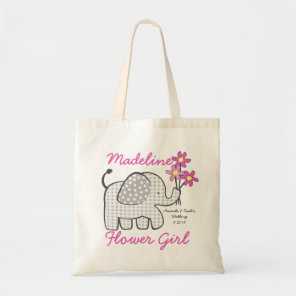 Flower Girl Gingham Elephant with Bouquet Pink Tote Bag