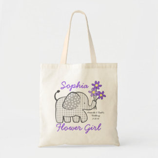 Flower Girl Gingham Elephant with Bouquet Purple Budget Tote Bag