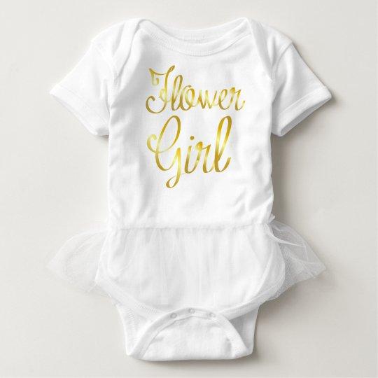 Flower Girl Gold and White Tutu Baby Bodysuit