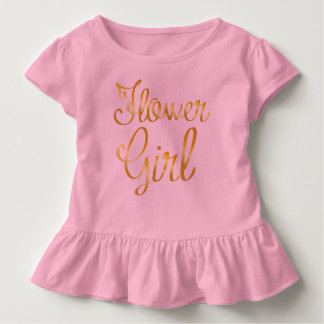 Flower Girl Gold Ruffle Pink Tee