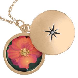 flower girl in gold round locket necklace