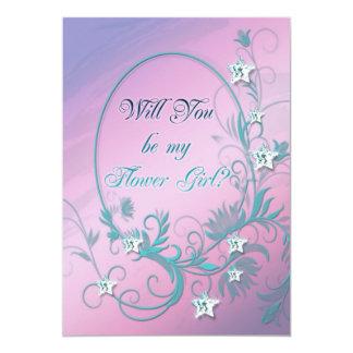 "Flower girl inviation with star diamonds 5"" x 7"" invitation card"