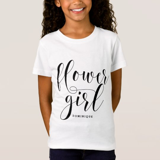 Flower Girl Modern Calligraphy Personalised T-Shirt