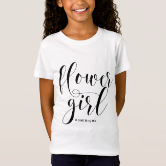 Flower Girl Modern Calligraphy Personalized T-Shirt