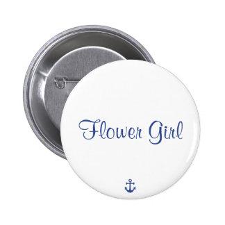Flower Girl Nautical Wedding Buttons
