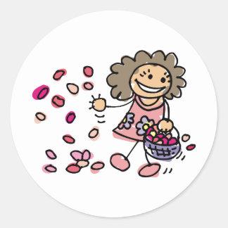 Flower Girl On Wedding Day Round Sticker