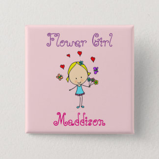 Flower Girl Personalised 15 Cm Square Badge