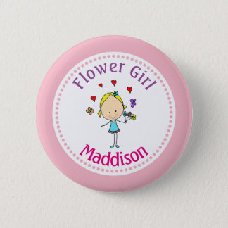 Flower Girl Personalized 6 Cm Round Badge